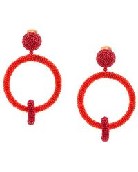 Oscar de la Renta - Beaded Double-hoop Earrings - Lyst