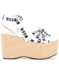 MSGM - Logo Wedge Sandals - Lyst