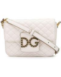 Dolce   Gabbana Foldover Logo Crossbody Bag in Pink - Save 38% - Lyst de11443a9e19f