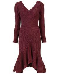 Tadashi Shoji - Geripptes Kleid mit langen Ärmeln - Lyst