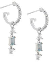 2c88aa929 Lyst - Swarovski Christie Blue Crystal Oval Stud Earrings in Metallic