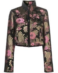 Josie Natori - Floral-jacquard Jacket - Lyst