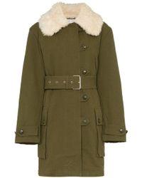 Proenza Schouler - Faux Fur Collar Belted Military Coat - Lyst