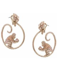 Marchesa notte - Gemstone Encrusted Monkey Hoop Earrings - Lyst