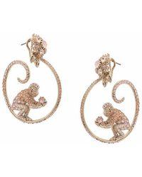 Notte by Marchesa - Gemstone Encrusted Monkey Hoop Earrings - Lyst