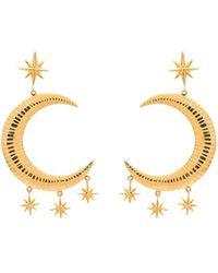 Marte Frisnes - Gold Metallic Moon And Stars Sterling Silver Earrings - Lyst