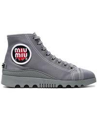 Miu Miu - Grey Canvas High Top Sneakers - Lyst