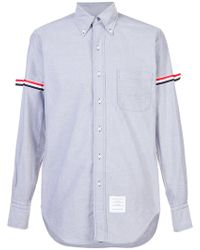Thom Browne - Long Sleeve Shirt With Grosgrain Armbands In Navy Oxford - Lyst