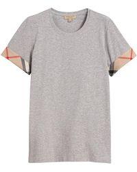 Burberry - Check Cuff Stretch Cotton T-shirt - Lyst