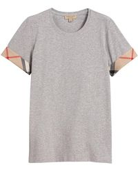 Burberry - 'house Check' Cuffs T-shirt - Lyst