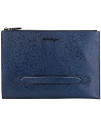Ferragamo - Textured Leather Clutch Bag - Lyst