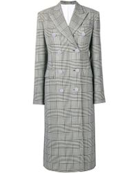CALVIN KLEIN 205W39NYC - Checked Double Breasted Coat - Lyst