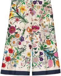 Gucci - Pantalón de Pijama de Sarga de Seda con Flora - Lyst