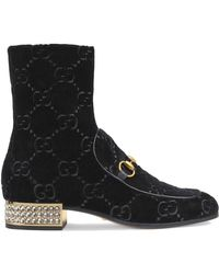 Gucci - Horsebit Gg Velvet Boots With Crystals - Lyst