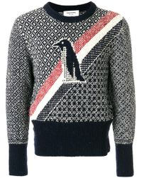 Thom Browne - Crewneck Pullover With Penguin Icon Fair Isle Jacquard In Mohair Tweed - Lyst