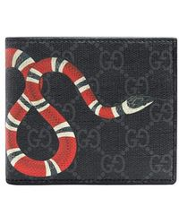 318514a2aea Gucci Kingsnake Print Striped Wallet in Blue for Men - Lyst