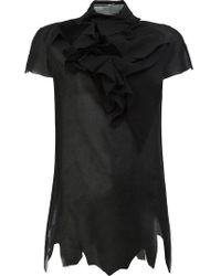 Aganovich - Ruffled Front T-shirt - Lyst