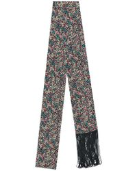 Twin Set - Ditsy Floral Fringed Skinny Scarf - Lyst