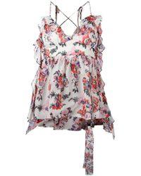 MSGM - Floral Print V-neck Top - Lyst
