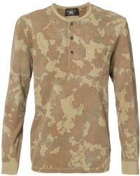 RRL - Camouflage Print Henley T-shirt - Lyst