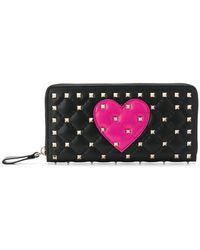 Valentino - Garavani Rockstud Spike Heart Zip Around Wallet - Lyst