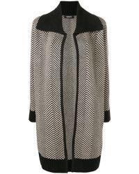 9d99581c66d Lyst - Dkny Leather Sleeve Wool Coat in Black