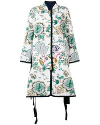 8b7c1fcca98d Tory Burch - Quilted Floral Print Coat - Lyst