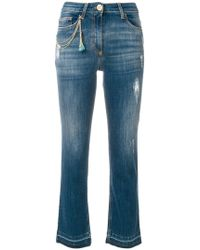 Elisabetta Franchi - Cropped High Waisted Jeans - Lyst