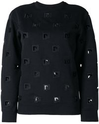 Paco Rabanne - Embroidered Cut Out Sweatshirt - Lyst