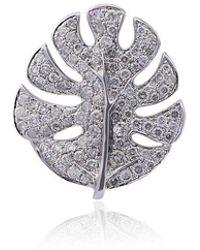 Yvonne Léon - White Palm Leaf Gold Diamond Earrings - Lyst