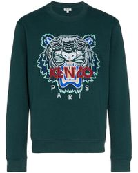 KENZO - Tiger Embroidered Cotton Sweatshirt - Lyst