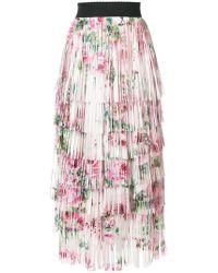 Dolce & Gabbana - Tiered Fringed Rose Print Midi Skirt - Lyst