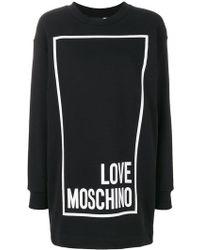 Love Moschino - Logo Print Sweatshirt Dress - Lyst