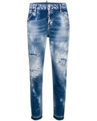 DSquared² - Destroyed Cropped Jeans - Lyst