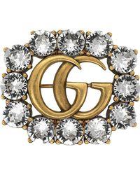 Gucci - Broche con cristales Double G - Lyst