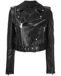 Manokhi - Cropped Biker Jacket - Lyst