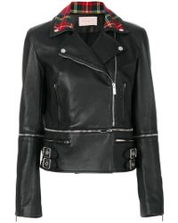 Christopher Kane - Tartan Collar Biker Jacket - Lyst