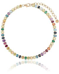 SHAY Rainbow Gem 18k Gold Choker Necklace