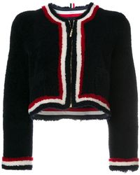 Thom Browne - Dyed Shearling Cardigan Jacket - Lyst