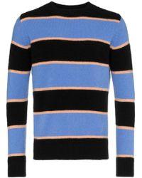 The Elder Statesman - Black Periwinkle Cashmere Stripe Sweater - Lyst