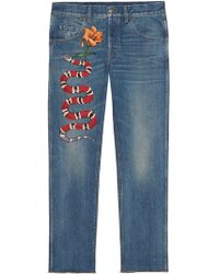 Gucci | Embroidered Denim Pants | Lyst