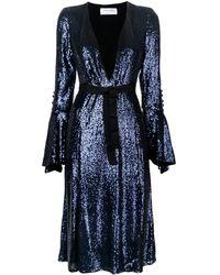 Prabal Gurung Front slit sequin flared dress