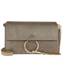 Chloé - Faye Small Shoulder Bag Metallic Goatskin Gold - Lyst