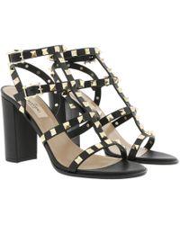 Valentino - Rockstud Sandal Block Heel Nero - Lyst