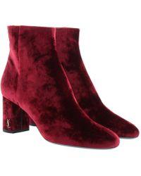 Saint Laurent - Baby Velvet Ankle Boots Black Rouge - Lyst