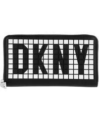 DKNY - Tilly Lg Zip Around Wallet Black/white - Lyst