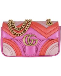 39f4be93775 Gucci - GG Marmont Mini Matelassè Bag Leather Fuchsia red pink - Lyst