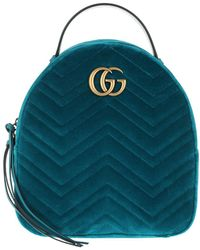 e88452d79e91 Gucci - GG Marmont Velvet Backpack Petrol - Lyst
