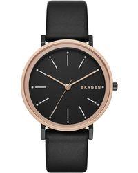 Skagen - Ladies Hald Leather Watch Black/black - Lyst