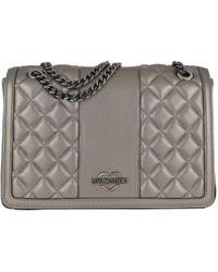 b4d3590c2c30 Love Moschino - Quilted Metallic Nappa Crossbody Bag Peltro - Lyst